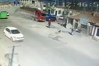 Truck In China Hits Residential Building Like A Rocket