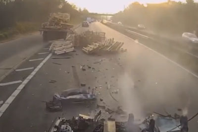 Lorry In UK Crushes Car Flat, Driver Miraculously Survives