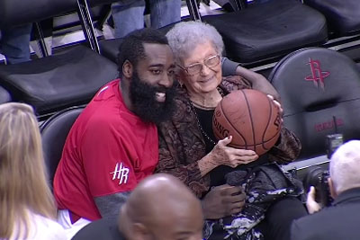 James Harden Gives The Ball To A Fan Celebrating Her 100th Birthday