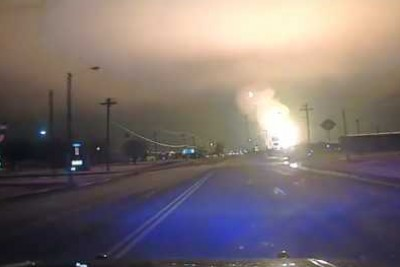 Natural Gas Pipeline Explosion In Spearman, Texas Captured On Police Dashcam