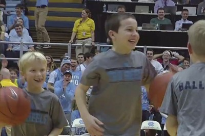 Kid Nails Three Straight Half Court Shots, Fans Go Crazy