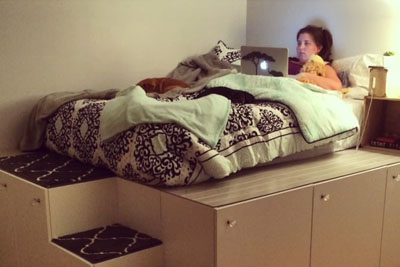 Dad Buys This Cheap Kitchen Cabinets In IKEA, Transforms Them Into Awesome Bed