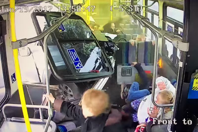 Truck Crashes Into Centro Bus In Syracuse, Gets Stuck