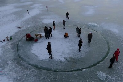 In Hungary, They've Made A Circle On A Frozen Lake And It Looks Like A Lot Of Fun