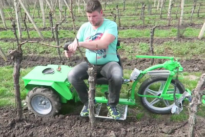 Man Bulids A Special Machine That Helps Him Do A Viticultural Work