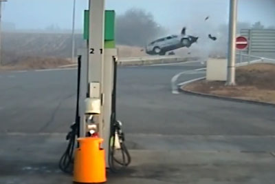 Brutal Crash Captured In Czech Republic Next To A Gas Pump