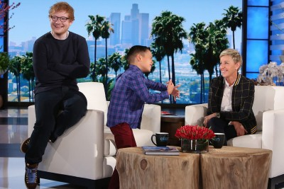 8-Yr-Old Sings Ellen Ed Sheeran's Song, But When He Turns Around His Reaction Is Priceless