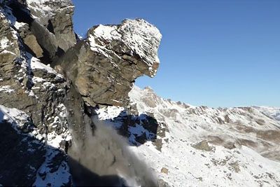 Massive Rockfall In Switzerland Captured On Camera