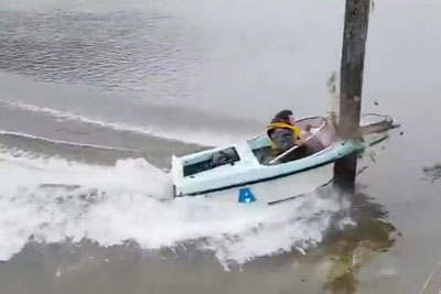 High Speed Boat Brutally Crashes Into Wooden Pole