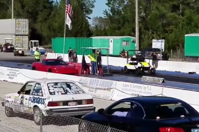 Modified Golf Cart Whips Corvette In A Drag Race
