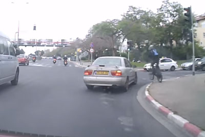Close Call With A Cyclist Captured On Dashcam