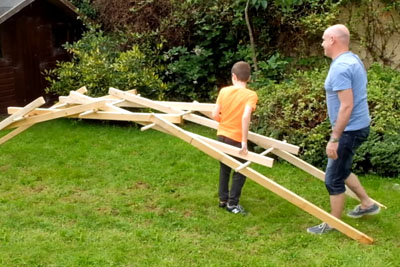 Boy Teaches His Dad To Build A Leonardo Da Vinci Bridge