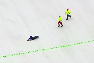 Ski Jumper Kevin Bickner's Crashes Hard After 234m Flight