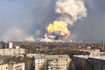 Massive Explosion At Ukrainian Arms Depot Sends Rockets Flying Over City