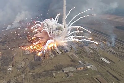 Incredible Explosion At Ukrainian Arms Depot Captured With Drone
