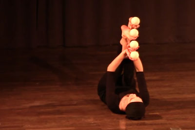 You've Never Seen Such A Juggling With Feet And Hands. She Is So Talented!