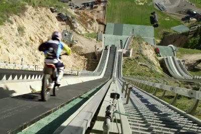 Crazy Robbie Maddison Uses His Motocross Bike To Jump Off A Ski Slope