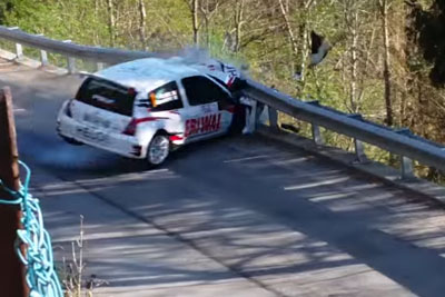 Big Crash Of Clio S1600 Rally Car With Engine Eject