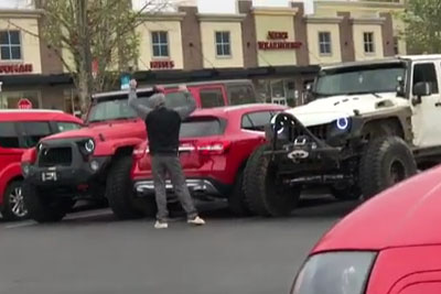 Hilarious Moment Two Jeep Drivers Block An 'Arrogant' Driver For Parking Across Two Spots