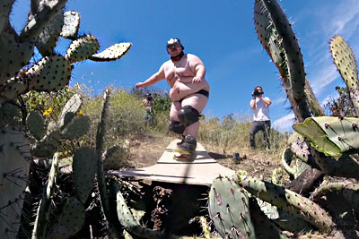 Epic Cactus Jump Goes Wrong For This Overweight Crazy Guy