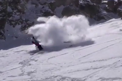Skier Botches Jump Landing, But Then Everything Goes Wrong