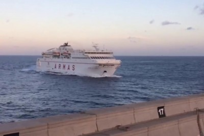 Watch How Ferry Crashes Through Seawall On Gran Canaria