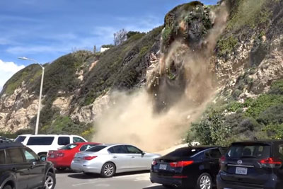WATCH: Man Captures Mountain Side Collapsing In Malibu
