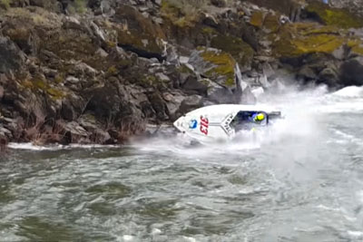Race Takes Nasty Turn As Speed Boat Slams Right Into A Jagged Cliffside