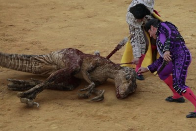 "This ""Footage"" Of Velociraptor Getting Killed Carries A Powerful Message About Bullfighting"