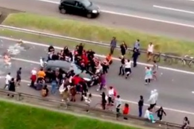 The Car Hit A Crowd Of Protesters In Brazil While Protesting In The Middle Of Highway