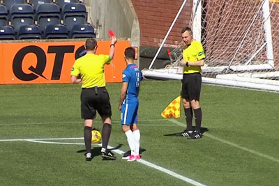 Referee Shows Red Card To Sick Assistant After Vomiting