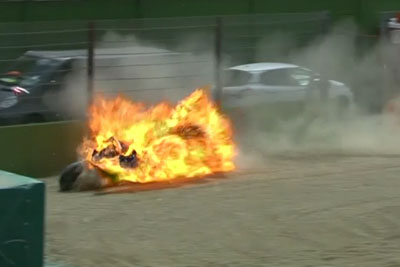 Racer Involved In Horror Crash As Bike Explodes In Fireball