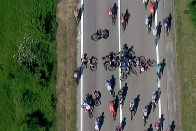 Huge Cyclist Crash With Police Motorbike Leaves Team Sky Hopes In Tatters
