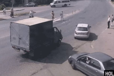 Truck Driver Delivers Instant Karma For Driver Who Doesn't Stop At Crosswalk