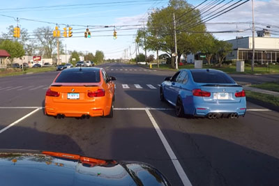 Two BMW M3 Drag Race With Each Other, Not Knowing There Is A Police Behind Them