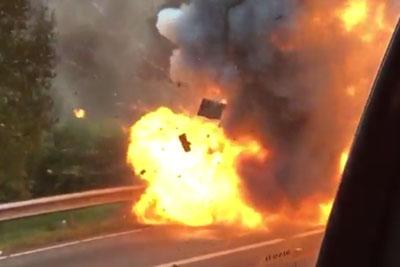 Driver Captures A Big Explosion Of Burning Car On Netherlands Highway