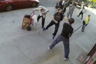 Random Scumbag Hits 90 Year Old Man With A Cane In New York, Gets Arrested