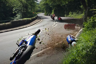 Big Crash On Isle Of Man TT 2017 Captured Right Next To A Camera