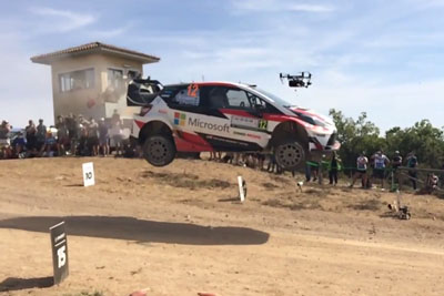 VIDEO: WRC Rally Car Hits A Drone While In Mid-Air After A Jump