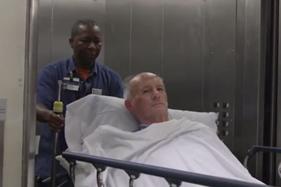 His Job Is To Take Patients To Their Rooms, Captured Camera Footage Of Him Goes Viral