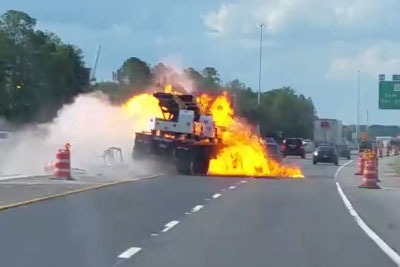 Florida Driver Captures Shocking Crash On The Highway, Truck Goes Into Flames