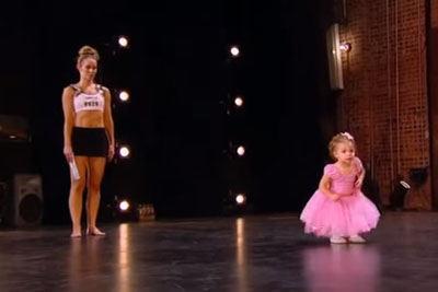 Tiny Ballerina Follows Mommy Onstage - Don't Take Your Eyes Off Her Feet