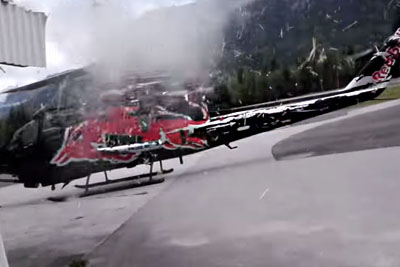 Red Bull's New Helicopter Crashes Into Building And Slices It Apart