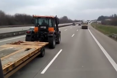 He Was Driving On The Highway, Then Farmer Overtook Him With His Fast Tractor