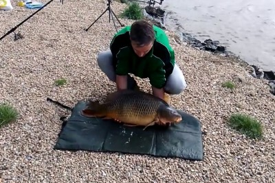 Fisherman Caught A Big Carp, Then The Fish Escaped Back Into The Water