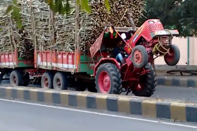What A Crazy Moment From India, Farmer Drove His Tractor On Rear Wheels
