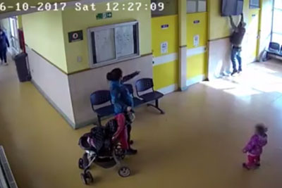 Security Cameras Captured Moment Parents Steal LCD TV Next To Their Children In Hospital