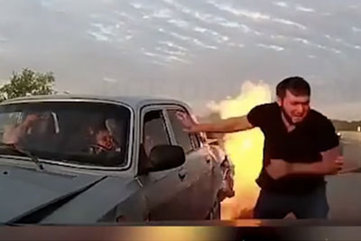 Real Life Hero Saves Couple From Burning To Death in Their Car
