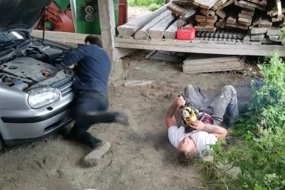 Chainsaw Prank Goes Wrong, Ends With A Victim Passing Out