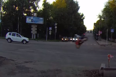 Dashcam Shows Shocking Moment Russian Biker Smashes Into Car At 125 MPH